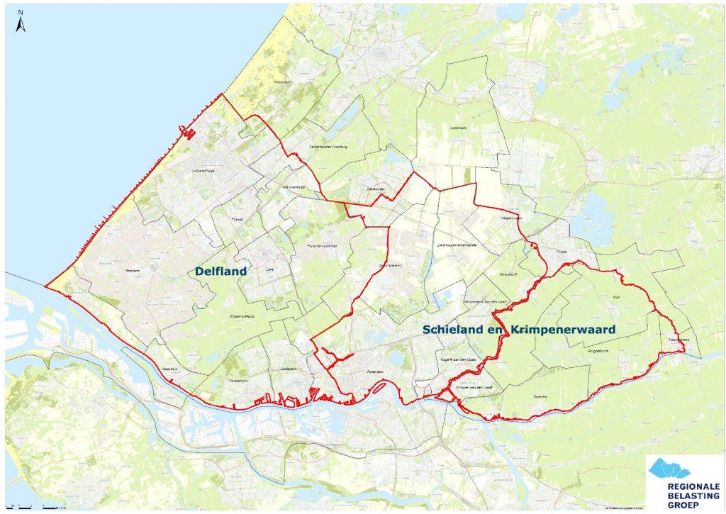 geografische kaart van Delfland en Schieland en Krimpenerwaard
