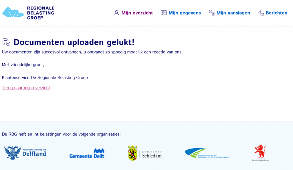 Documenten uploaden gelukt